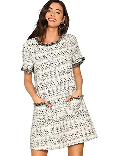 4e1d32eb Floerns Women's Tweed Short Sleeve Shift Tunic Dress with Pockets ...