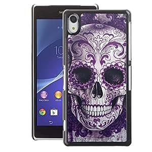 A-type Arte & diseño plástico duro Fundas Cover Cubre Hard Case Cover para Sony Xperia Z2 (Rock Roll Skull Bling Floral Death Metal)