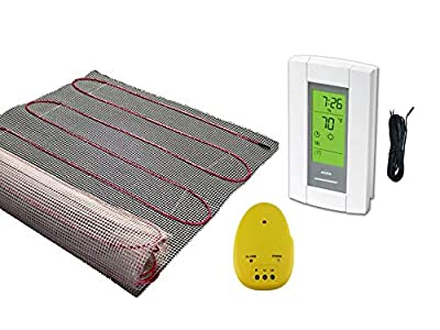 55 Sqft Mat, Warming Systems 120 V Electric Tile Radiant Floor Heating Mat with Programmable Thermostat