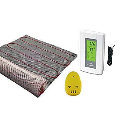 Image of 25 Sqft Mat, Warming Systems 120 V Electric Tile Radiant Floor Heating Mat with Programmable Thermostat Home Improvements