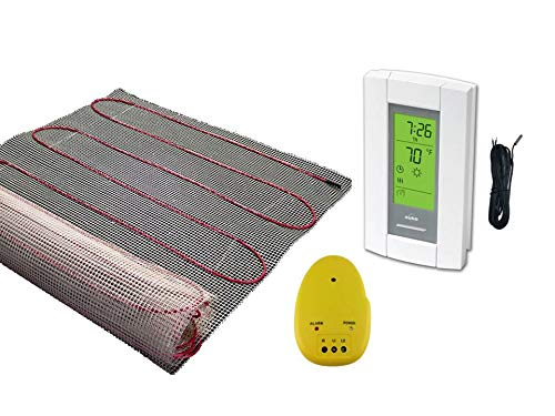 25 Sqft Mat, Warming Systems 120 V Electric Tile Radiant Floor Heating Mat with Programmable Thermostat