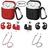 10-in-1 Airpods Protected Silicone Case, Airpods Accessory Kit, Airpods case and Apple Airpods Skin with Anti-Lost Airbag Belt, Airpods Watch with Stand, Airpods Earhook (Black+Red)