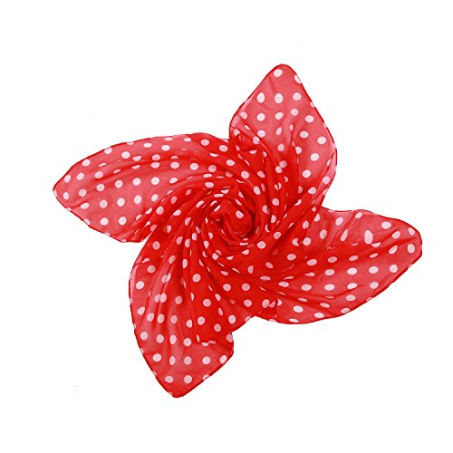MissShorthair Vintage Women Bandanas Chiffon Square Neck Scarf Wrap Handkerchief (One Size, Red dots)