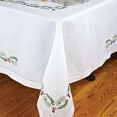 Holly Days Table Linens Napkins, White (1 Dozen) by Schweitzer Linen
