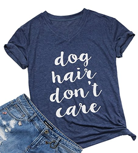 (FAYALEQ Dog Hair Don't Care T-Shirt Women's V-Neck Casual Short Sleeve Tee Funny Tops Size S (Blue))