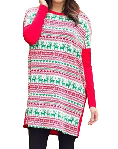 Coolred s T Dress Long Sleeve Women Shirt Patterned Xmas Red Stylish r5nqTrA07