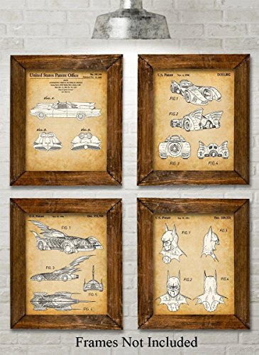 Original Batmobile Patent Art Prints - Set of Four Photos (8x10) Unframed - Great Gift for Batman and Comic Fans