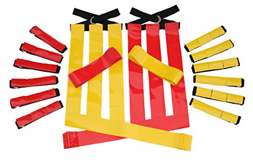 Flag Football Set Kids – Premium 14 Player, 62 Piece Kids Belts and Flags Kit Includes 3 Velcro Flags Per Belt Plus a Bonus 6 Replacement Flags