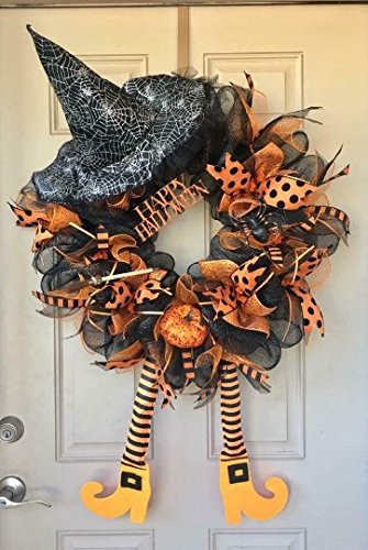 Halloween Witch Wreath with Cute Dangling Legs, Witch Hat, Pumpkin and Other Awesome Ornaments