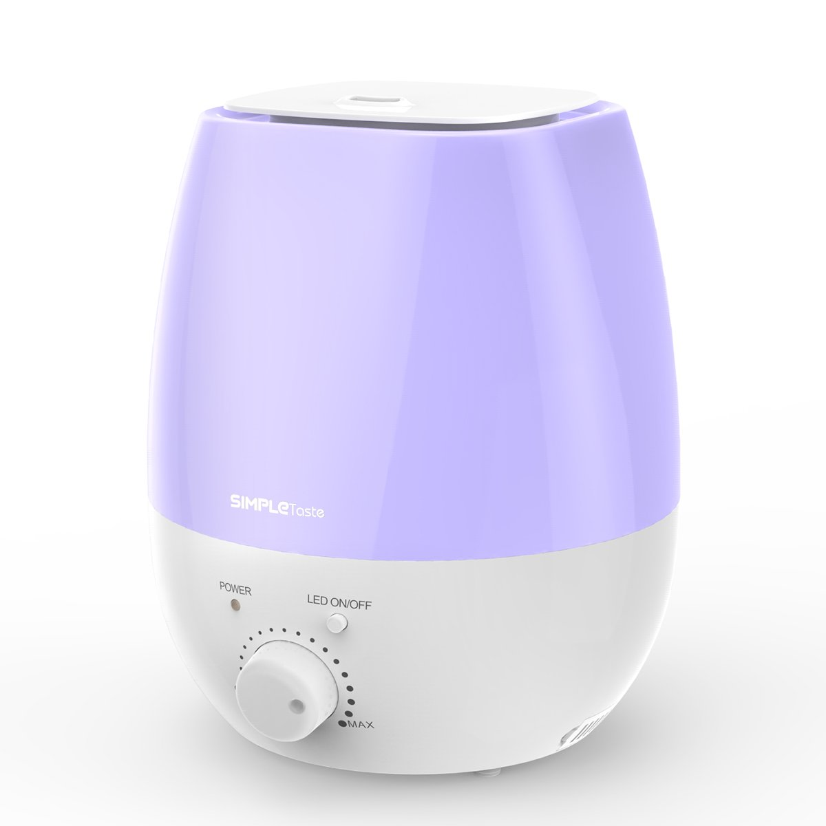 Ultrasonic Humidifier Cool Mist Diffuser with 7 Colors LED Night Lights Whisper-Quiet 0.79 Gal SimpleTaste 3L Purple