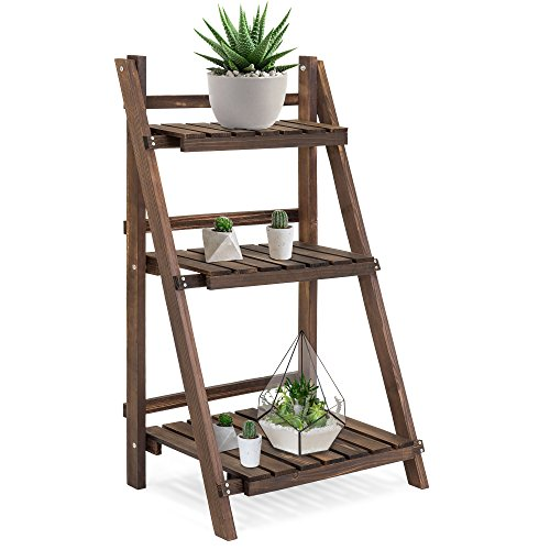 (Best Choice Products 3-Tier Indoor Outdoor Multipurpose Folding Wood Plant Storage Display Rack Stand for Flowers, Succulents, Books, Pictures )
