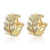 Dds5391 Shining Fashion Rhinestone Leaf Huggie Hoop Earrings Women Party Banquet Jewelry Gift - Golden