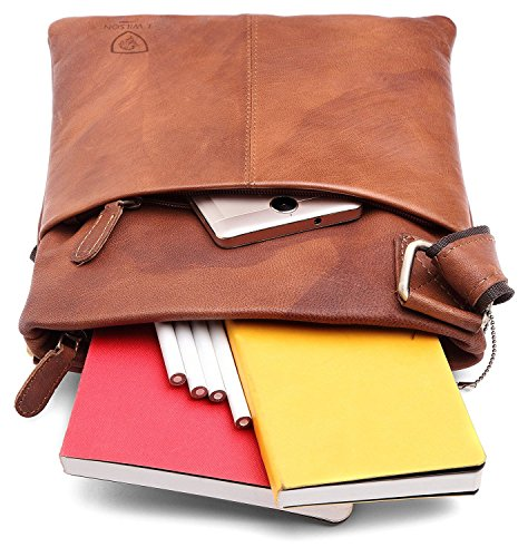 Vintage Leather Distressed Everyday Messenger Genuine Real Pure Work Tan 100 Bag Leather Hunter Handmade Shoulder Mens iPad Crossover ftq86wxza