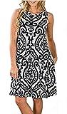 SimpleFun Women's Summer Sleevless Bohemian Print Tunic Swing Pockets T-Shirt Loose Dress (Black,M)