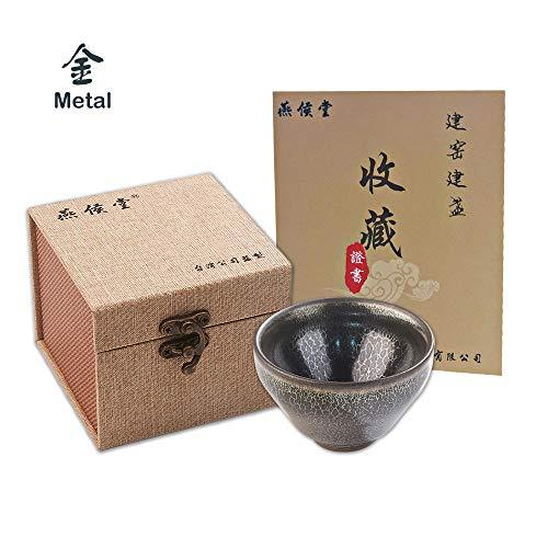 Yan Hou Tang - Metal JianZhan Tenmoku Chinese Asian Cold Sake Sushi Wine Tea Cup Bowl Black Grey 45ml - 5 Elements Feng Shui Crafts Designer Ceremony Hand Work Made Oil Snow Spot Style Sheaf Mouth