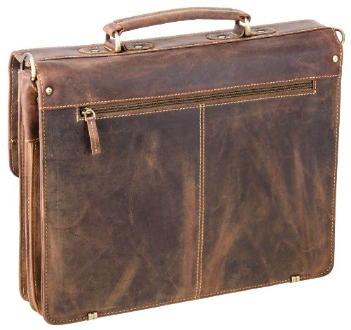 Porte-documents fabriqué à partir de cuir de veau ciré 10 - selle marron - GeenBurry