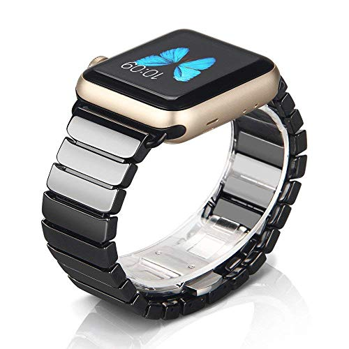 NotoCity Compatible Apple Watch Strap Series 4/3/2/1 42mm/44mm Women Ceramics Replacement Band Compatible iwatch Series 4/3/2/1 Wristband Link ()