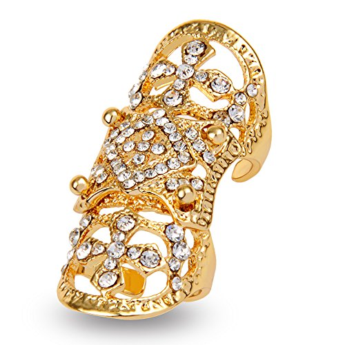 [Statement Full Finger Rings EVBEA Fashion Knuckle Rings for Women(Yellow)] (Yellow Gold Costume Jewelry)