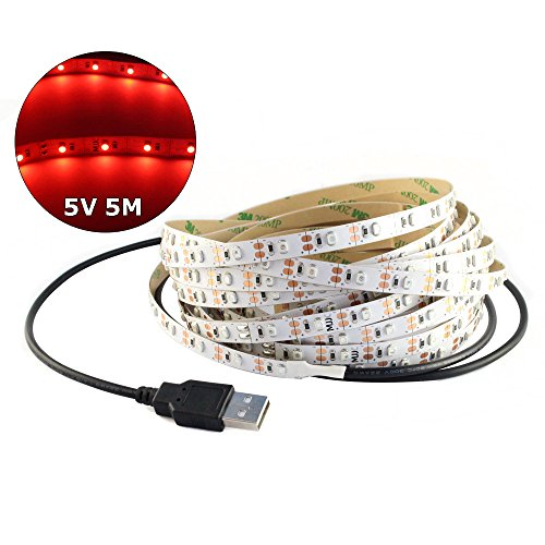 5V USB LED Strip Light 5M SMD 3528 with 3M Tape for TV Computer Backlighting (5M,3528,Non-waterproof, (Green Led Usb)
