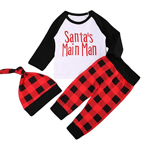 KONIGHT 3Pcs Baby Christmas Outfits Long Sleeve Santa's Main Men Tshirt with Red Plaid Pant Hat Set (White, 0-6 Months)]()