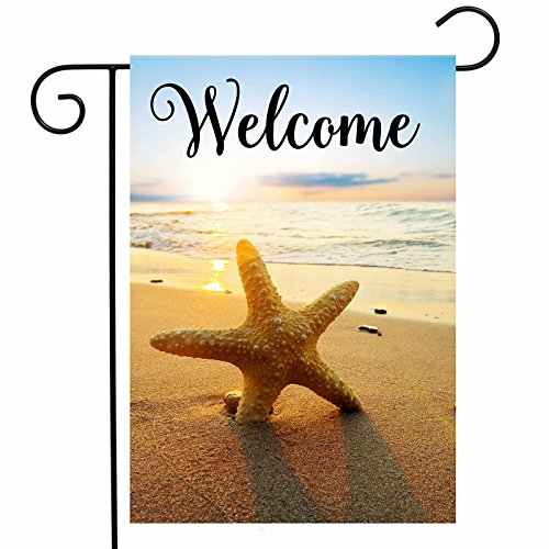 ShineSnow Beach Starfish Summer Autumn Garden Yard Flag 12''x 18'' Double Sided, Holiday Seashore Sunset Tropical Polyester Welcome House Flag Banners for Patio Lawn Outdoor Home Decor by ShineSnow