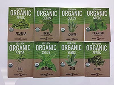 Organic, Heirloom, Non-GMO, Herb Garden Seeds - 8 Variety Kitchen Herbal Gardening Assortment - Arugula, Basil, Chives, Cilantro, Dill, Oregano, Sage, Thyme