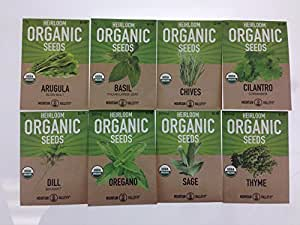 Organic, Heirloom, Non-GMO, Herb Garden Seeds – 8 Variety Kitchen Herbal Gardening Assortment - Arugula, Basil, Chives, Cilantro, Dill, Oregano, Sage, Thyme