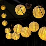16ft 20 Oriental LED Solar String Chinese lantern Lights For Indoor Outdoor Christmas Wedding Birthday Party Decor no Batteries or Plug Needed (Yellow)