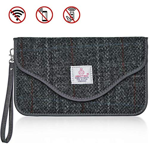 (CigaMaTe Faraday Bag Cell Phone, Harris Tweed GPS RFID Signal Blocking Bag Car Key Fob Protector Pouch Privacy Protection Pouch Anti-Tracking Anti-Spying)