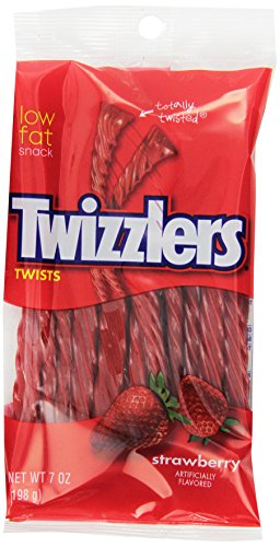 TWIZZLERS Twists, Strawberry Flavored Licorice Candy, 7 Ounce Bag (Pack of 12)