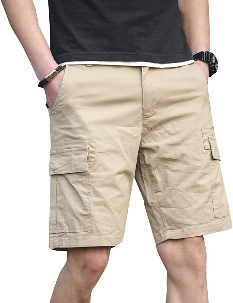 MOTOR CASUAL Men's Classic Relaxed Fit Stretch Board Cargo Shorts with Pocket Short-Reg