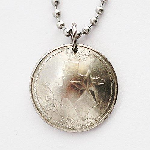 Lone Star Pendant (Texas Domed Coin Necklace U.S. Lone Star State Commemorative Quarter Pendant 2004)