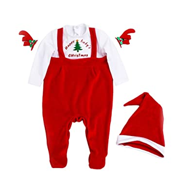 YuanDiann Bébé Fille Garçon Noel Grenouillere Pyjama Combinaison Ensemble  Naissance Père Noël Habit Tenue Barboteuse à 9bef9f15dc0