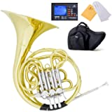 Mendini Key of F/B-Flat Double French Horn, Lacquered Yellow Brass - MFH-30+92D
