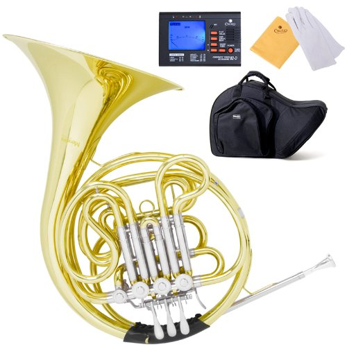 Mendini MFH-30 Intermediate Key of F/Bb Double French Horn with Solid Rotors String Lever Action by Mendini by Cecilio