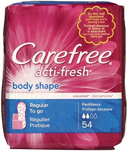 Carefree Body Shape Panty Liners, Regular, to Go (Pack of 36)