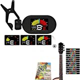 Clip on Tuner for Guitar Ukulele Bass Banjo Vionlin Mandolin Digital Metronome Tuner Tone with FREE Guitar Fretboard Note Decals sticker GIFT