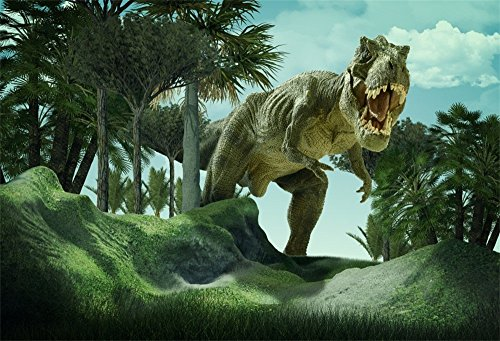 OFILA 3D Rendering Scene Backdrop 7x5ft Giant Dinosaur Destroy the Park Backdrop Children Boys Birthday Party Decoration Display Interior Wallpaper Event Game Background Kids Toddlers Shoots Props - Park Scene