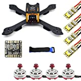 QWinOut DIY Accesory Kit 210mm X Shape Frame RS2306 Brushless Motor 30A ESC with PDB 5V BEC for FPV Racing Drone Quadcopter Multicopter with Flycolor Raptor BLS ESC