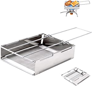 XFSD Folding Camp Stove Toaster, Portable Stainless Steel Outdoors Toaster Rack for Camping Stove, Backpacking, Hunting, Hiking, Cooking, Silver