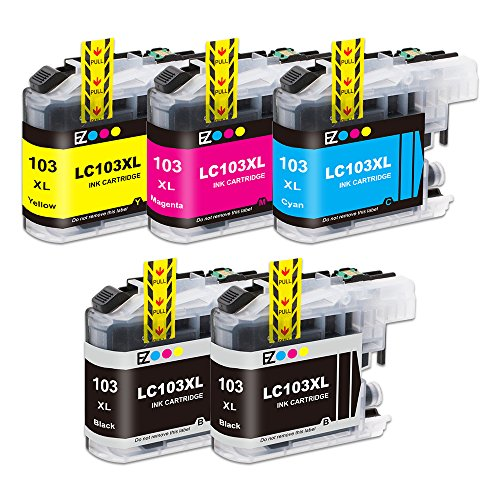 E-Z Ink Compatible Ink Cartridge Replacement for Brother LC-103XL High Yield (2 Black, 1 Cyan, 1 Magenta, 1 Yellow) 5 Pack