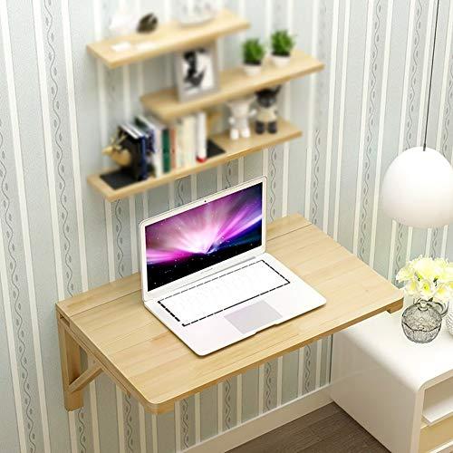 FCXBQ massivt trä hopfällbart bord multifunktion vägg matbord mot väggen dator skrivbord vägg hängande studierum bord hopfällbart skrivbord (storlek: 120 x 50 cm)