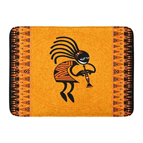 Emvency Doormats Bath Rugs Outdoor/Indoor Door Mat Orange Southwestern Tribal Dancing Figure Kokopelli Africa Southwest Bathroom Decor Rug Bath Mat 16