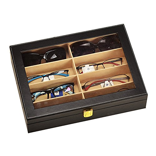 UnionPlus 8-Slot Eyeglass Sunglass Glasses Organizer Collector - Faux Leather Storage Case Box - Sunglass Display Case For Home