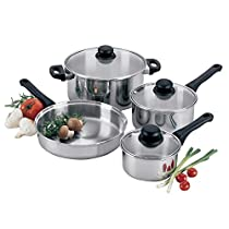 7-Piece Clad Bottom Lodging Industry Cookware Set with Glass Lids