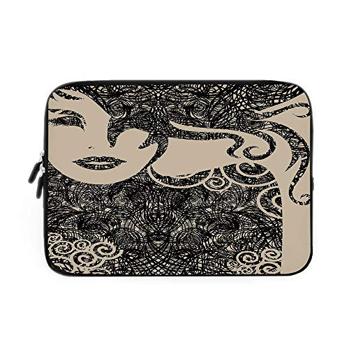 (Modern Decor Laptop Sleeve Bag,Neoprene Sleeve Case/Woman with Cool Posing Wavy Sexy Hot Hair and Vamp Makeup Image Print/for Apple MacBook Air Samsung Google Acer HP DELL Lenovo AsusTan and)