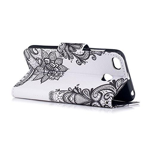 Xiaomi Redmi 4X Hülle, Chreey PU Leder Schutzhülle mit Feder Traumfänger Muster Bumper Flip Wallet Case Handyhülle Spitze