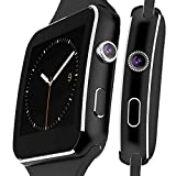 Anti-lost Touch Screen Bluetooth Smart Watch with Camera & Life waterproof,Support TF/SIM Card & Health Tracking/Sedentary Reminder/Sleep Monitoring for Android and IOS Phone X6 (Black)