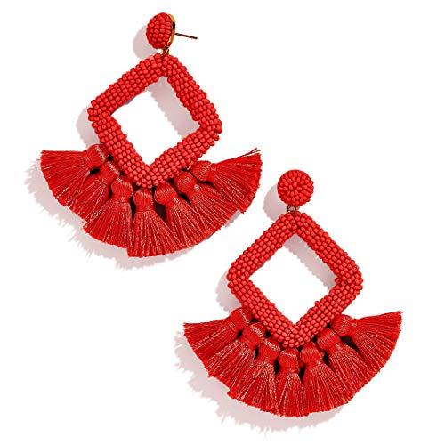 (FANJURNEY Beaded Statement Tassel Earrings,Handmade Earring, Bohemian Dangle Fringe Earrings for Women, Idea Gift for Sister, Wife and Friend (Red))