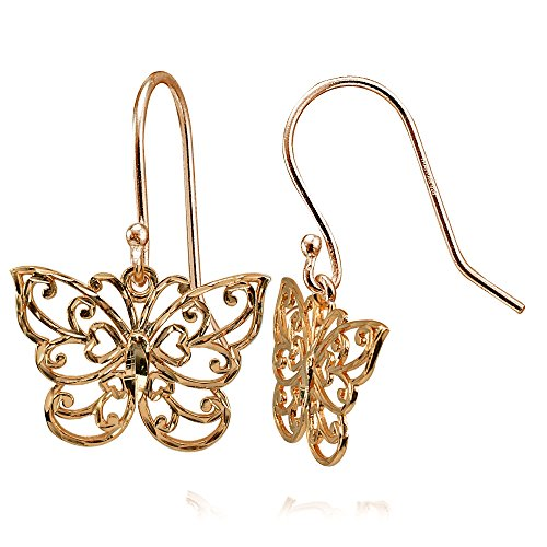 erling Silver High Polished Diamond-cut Filigree Butterfly Dangle Earrings ()